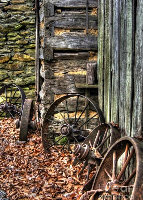 Wagon Wheel Greeting Card featuring the photograph Wheels Of Time by Benanne Stiens