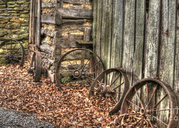 Wagon Wheel Greeting Card featuring the photograph Wheels Of Time Two by Benanne Stiens