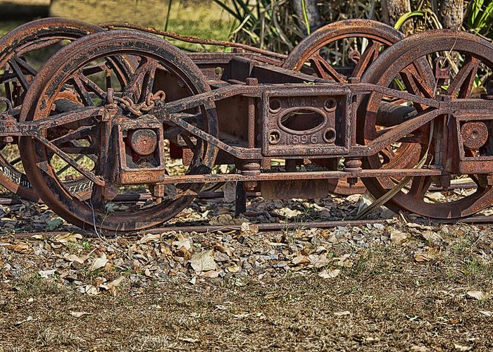 Steam Greeting Card featuring the photograph Wheels V3 by Douglas Barnard