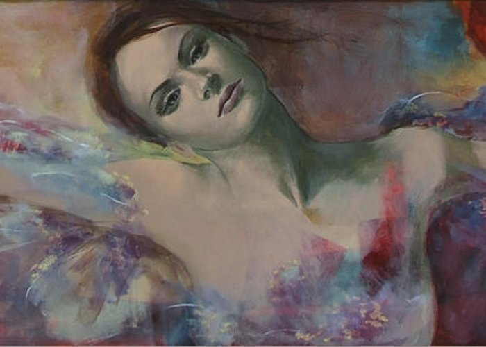 Fantasy Greeting Card featuring the painting When A Dream Has Colored Wings by Dorina Costras