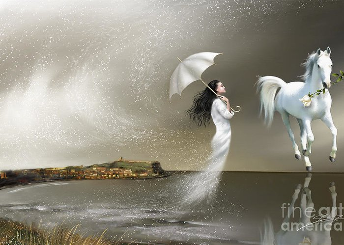 Surrealism Greeting Card featuring the painting When it Snows in Scarborough by - Artificium -