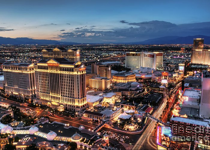 Las Vegas Greeting Card featuring the photograph When Vegas Comes To Life by Eddie Yerkish