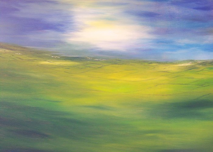 Impressionist Greeting Card featuring the painting Where Land Sea And Sky Meet Sun In My Eyes by Conor Murphy