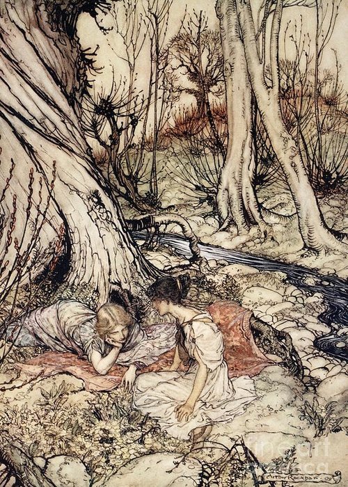 Primroses; Primrose; Friends; Friend; Female; Character; Characters; Helena; Hermia; Woods; Forest; Stream; Shakespeare Greeting Card featuring the drawing Where Often You And I Upon Fain Primrose Beds Were Wont To Lie by Arthur Rackham