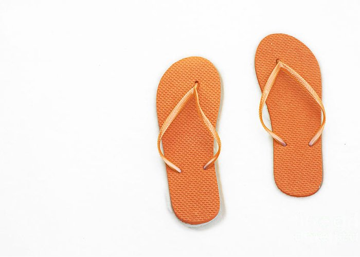 Andee Design Flip Flops Greeting Card featuring the photograph Where On Earth Is Spring - My Orange Flip Flops Are Waiting by Andee Design