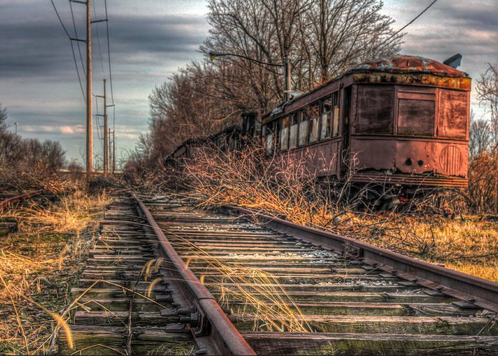 Rail Car Greeting Card featuring the photograph Where Trains Go To Die by Gary Fossaceca