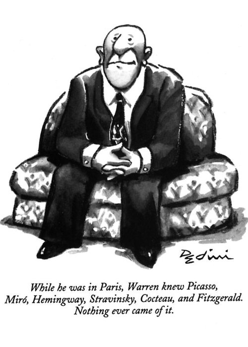 (a Rather Unhappy-looking Man Sits On A Sofa With His Hands Folded) Psychology Greeting Card featuring the drawing While He Was In Paris by Eldon Dedini