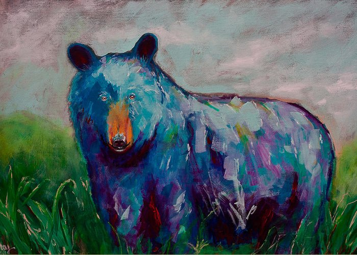 Whimsy Bear Painting Black Bear Brown Bear Wall Art Greeting Card ...