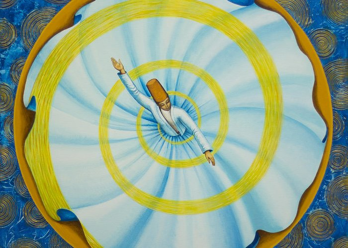 Sufi Greeting Card featuring the painting Whirling dervish by Yuliya Glavnaya