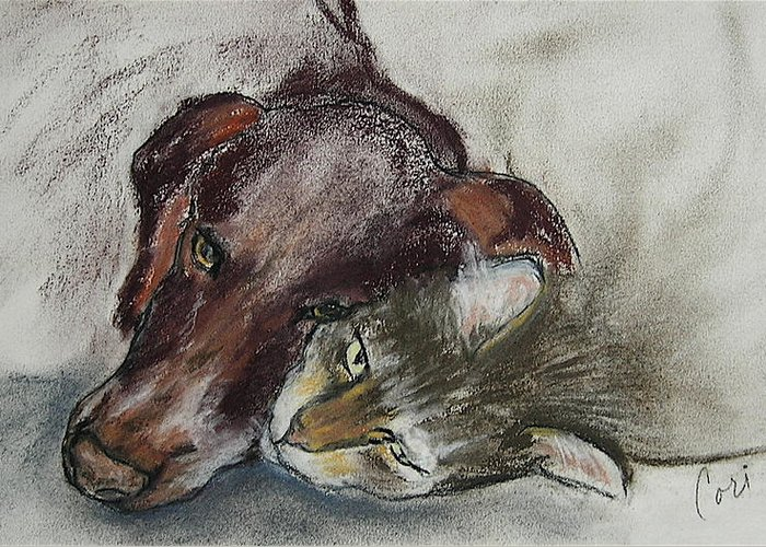 Dog Greeting Card featuring the drawing Whisker To Whisker by Cori Solomon