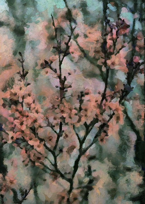Cherry Blossoms Greeting Card featuring the painting Whispering Cherry Blossoms by Janice MacLellan