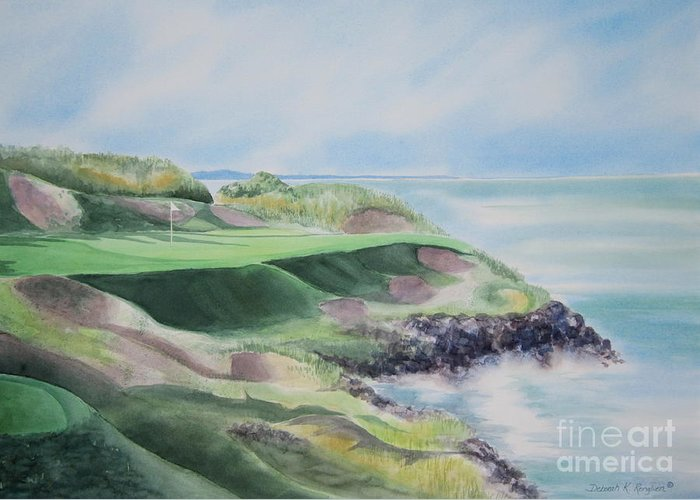 Whistling Straits Greeting Card featuring the painting Whistling Straits 7th Hole by Deborah Ronglien
