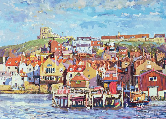 Nice Greeting Card featuring the painting Whitby by Martin Decent