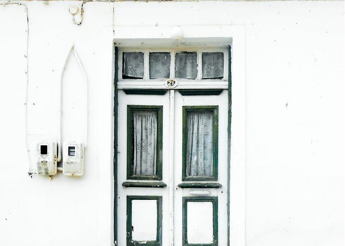 Door Greeting Card featuring the photograph White And Green Door by Ioanna Papanikolaou