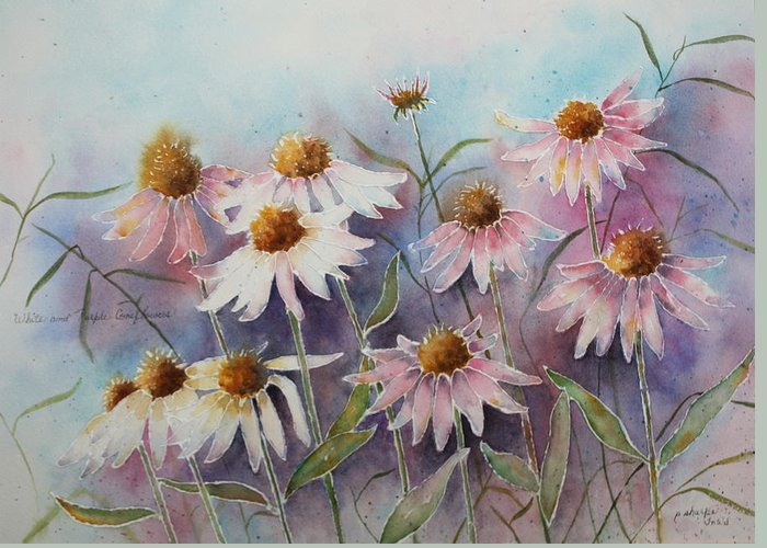 Floral Greeting Card featuring the painting White And Pink Coneflowers by Patsy Sharpe