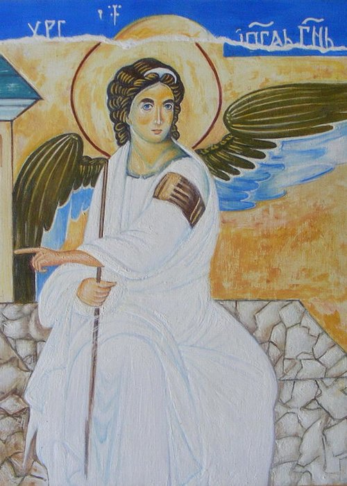 Serbian Greeting Card featuring the painting White Angel by Jovica Kostic