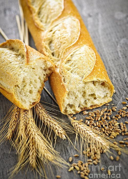 Bread Greeting Card featuring the photograph White Baguette by Elena Elisseeva