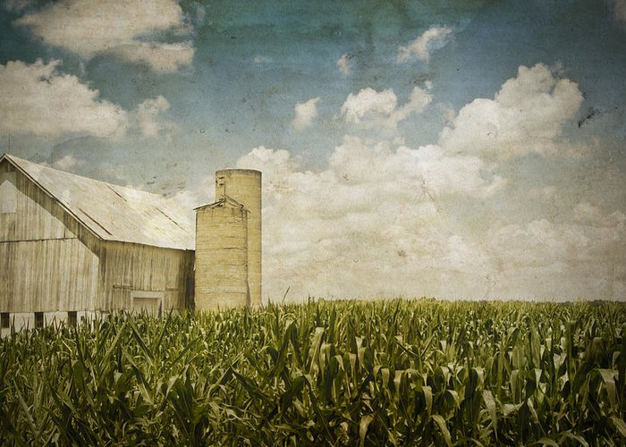 Landscape Greeting Card featuring the photograph White Barn by Michael Huddleston