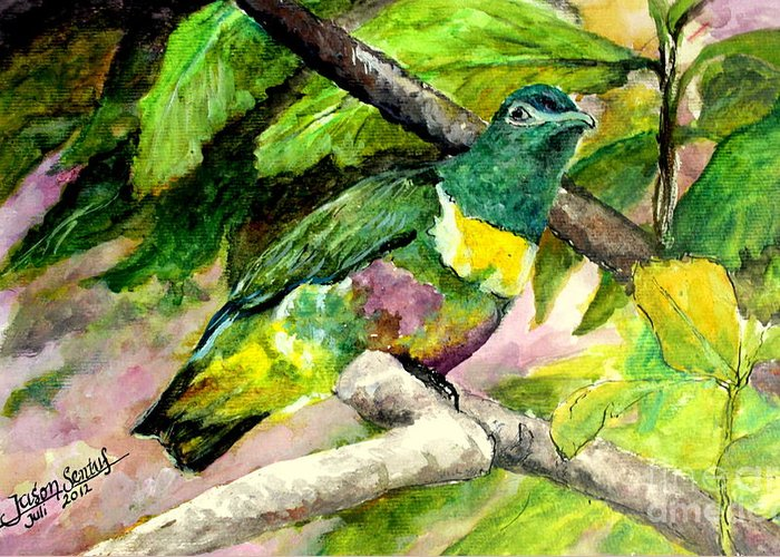 Bird Greeting Card featuring the painting White-bibbed Fruit Dove by Jason Sentuf