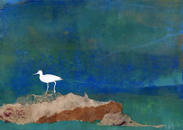 Landscape Greeting Card featuring the mixed media White Bird by Theresa Khong