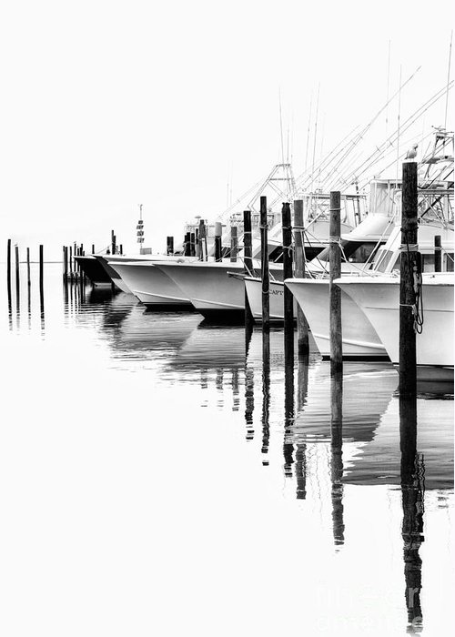 North Carolina Greeting Card featuring the photograph White Boats II - Outer Banks Bw by Dan Carmichael