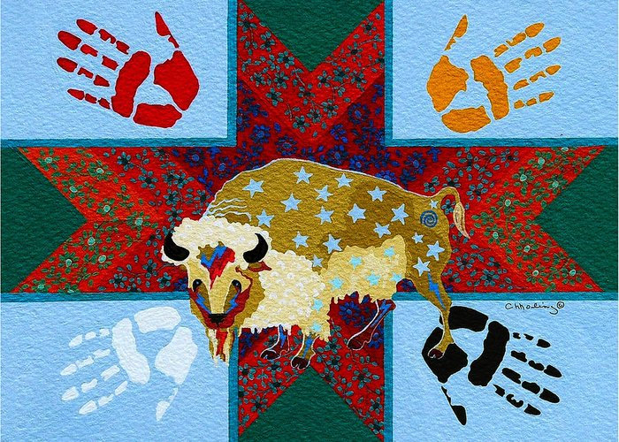 America Greeting Card featuring the painting White Buffalo Calf Legend by Chholing Taha