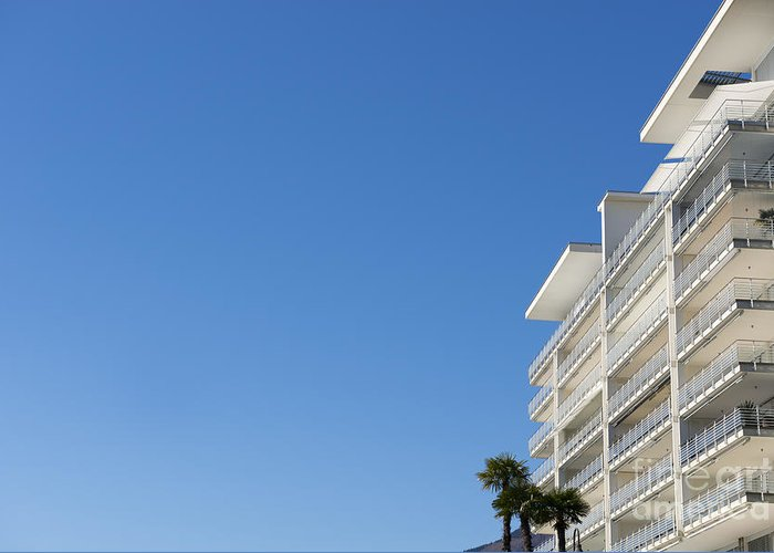 Building Greeting Card featuring the photograph White Building And Palm Trees by Mats Silvan