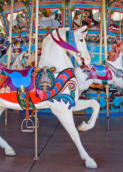 Carnival Greeting Card featuring the photograph White Carousel Horse by David and Carol Kelly