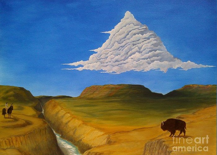 John Lyes Greeting Card featuring the painting White Cloud by John Lyes