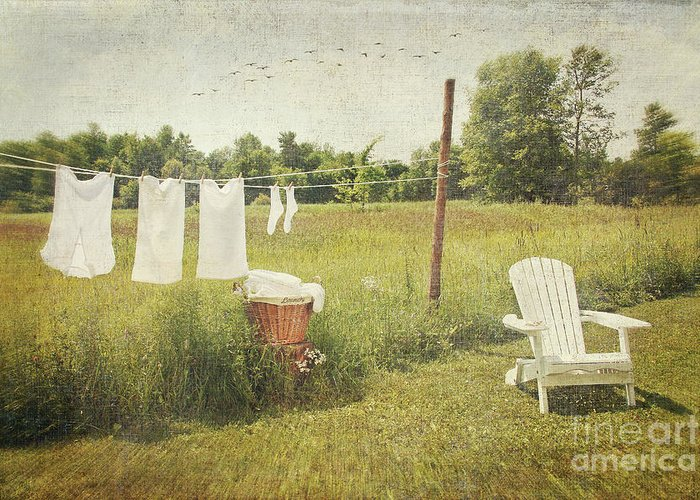 Air Greeting Card featuring the photograph White Cotton Clothes Drying On A Wash Line by Sandra Cunningham