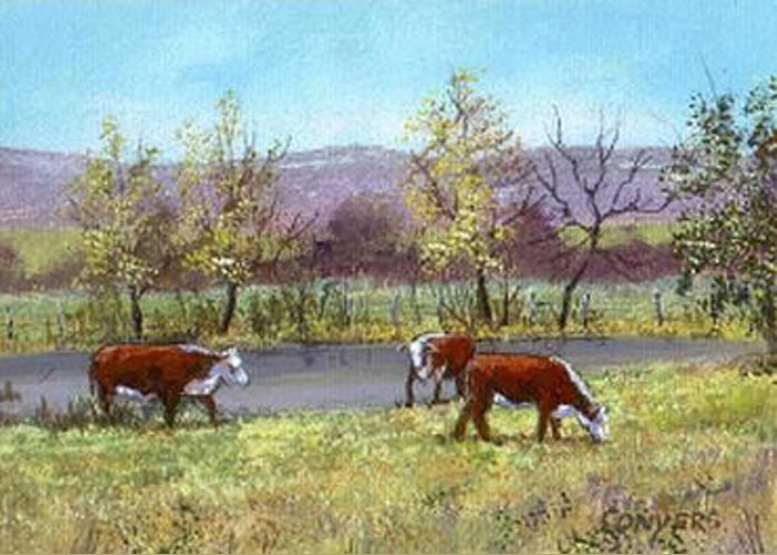 Cows Greeting Card featuring the painting White Face Cows In Pasture by Peggy Conyers