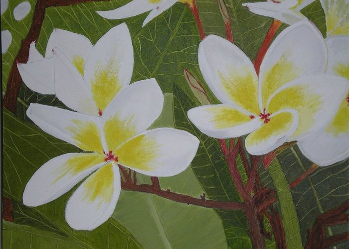 Flowers Greeting Card featuring the painting White Flowers by Neil Gallagher