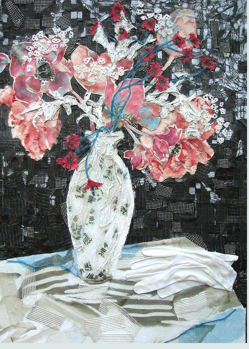 Flowers In A Vase Greeting Card featuring the mixed media White Glove by Diane Fine