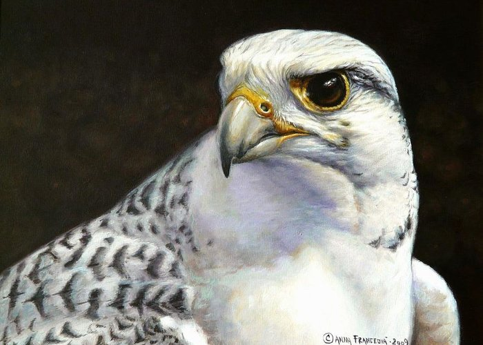 Falconry Greeting Card featuring the painting White Gyrfalcon by Anna Franceova