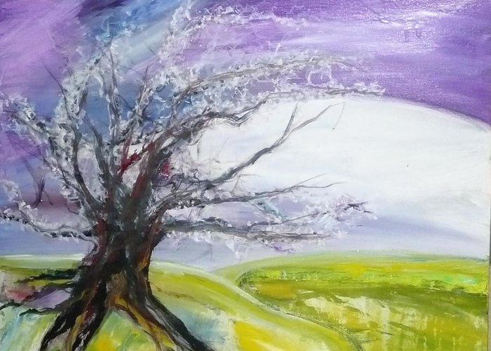 Landacape Greeting Card featuring the painting White Hope by Rachel Thompson Schiff