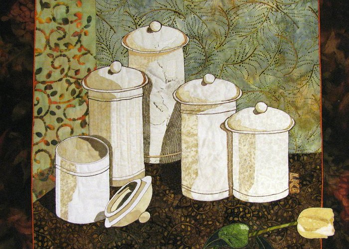 Art Quilts Tapestries - Textiles Greeting Card featuring the tapestry - textile White Jars by Lynda K Boardman