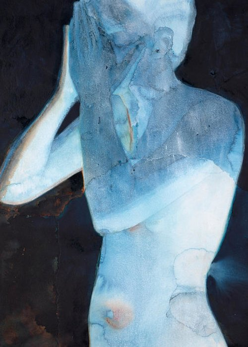 Nude Greeting Card featuring the painting White Lights I by Graham Dean