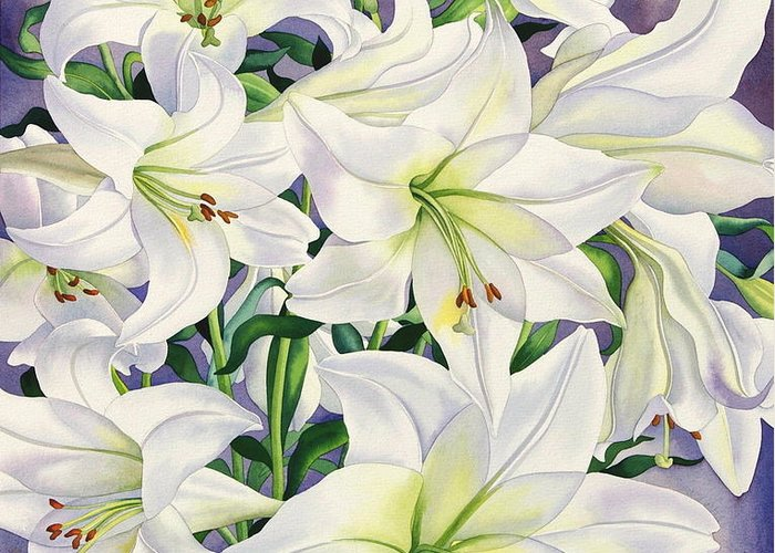 Lily Greeting Card featuring the painting White Lilies by Christopher Ryland