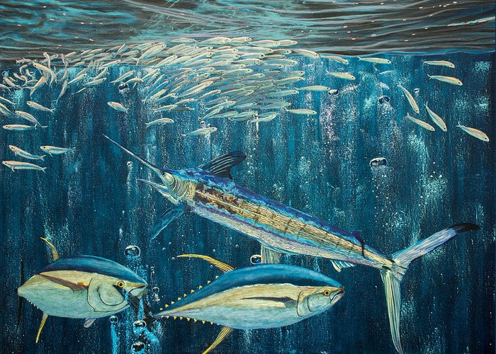 White Marlin Greeting Card featuring the painting White Marlin Original Oil Painting 24x36in On Canvas by Manuel Lopez
