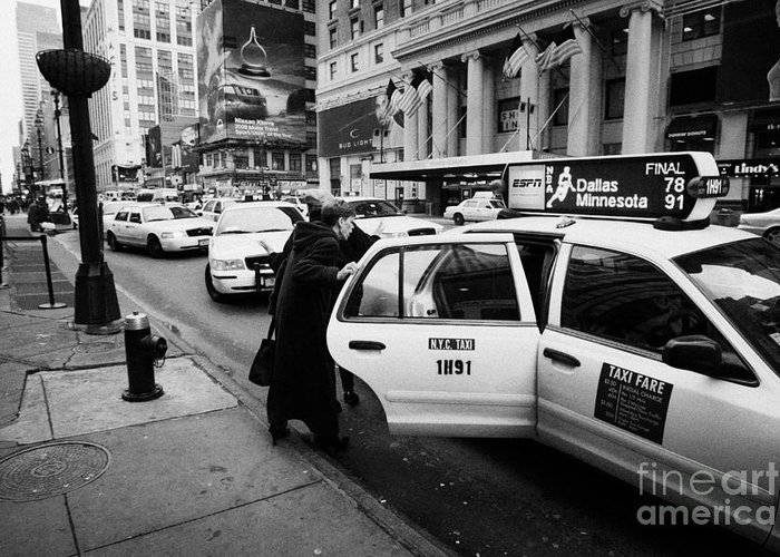 Usa Greeting Card featuring the photograph white middle aged passengers exit from yellow cab rear door at taxi rank on 7th Avenue by Joe Fox