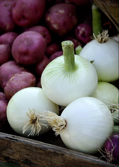 Onions Greeting Card featuring the photograph White Onions And Red Potatoes by Julie Palencia