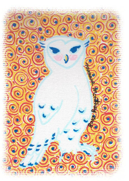 Owl Greeting Card featuring the painting White Owl by Monique Montney