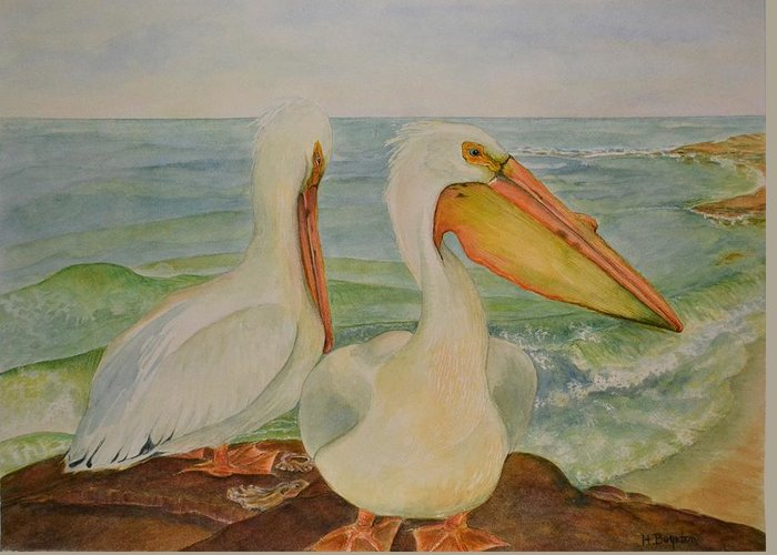 Pelicans Greeting Card featuring the painting White Pelicans by Hannah Boynton
