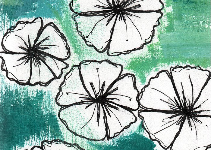 Flowers Greeting Card featuring the painting White Petunias- Floral Abstract Painting by Linda Woods