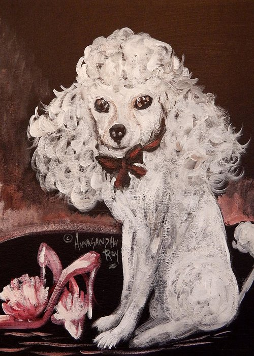 White Poodle Greeting Card featuring the painting White Poodle by Anna Sandhu Ray