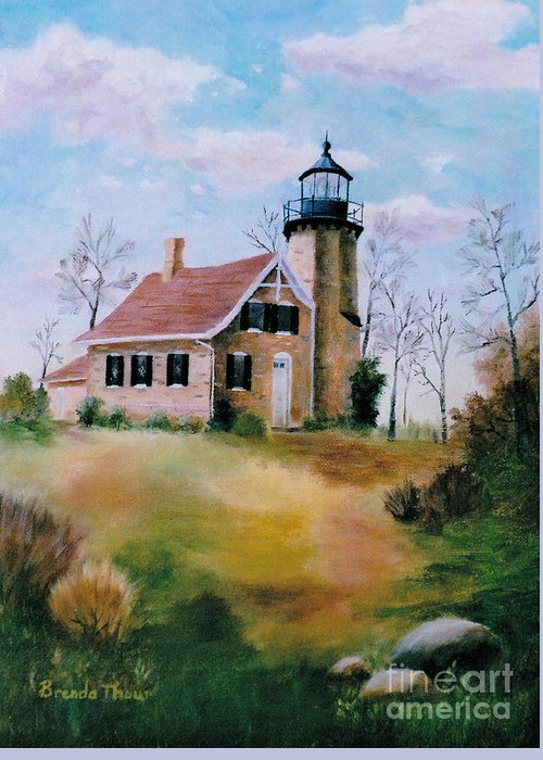 Lighthouse Greeting Card featuring the painting White River Light by Brenda Thour