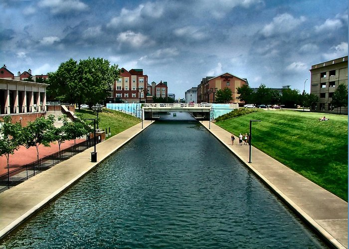 White River Greeting Card featuring the photograph White River Park Canal In Indy by Julie Dant