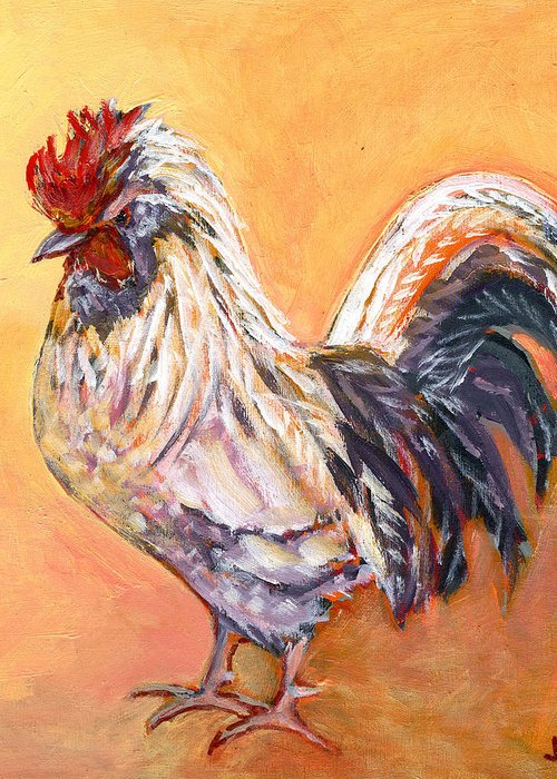 Chicken Greeting Card featuring the painting White Rooster by Jennifer Lommers