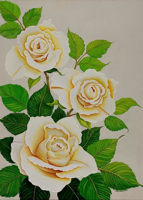 White Roses With Yellow Shading On A White Background. Greeting Card featuring the painting White Roses - Vertical by Carol Sabo