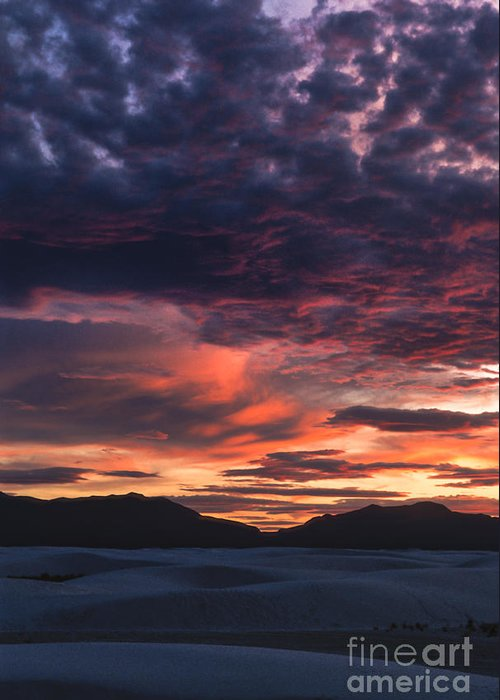 White Sands Greeting Card featuring the photograph White Sands Sunset by Sandra Bronstein